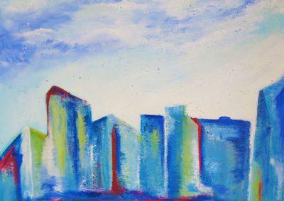 Blaue Stadt am Fluss